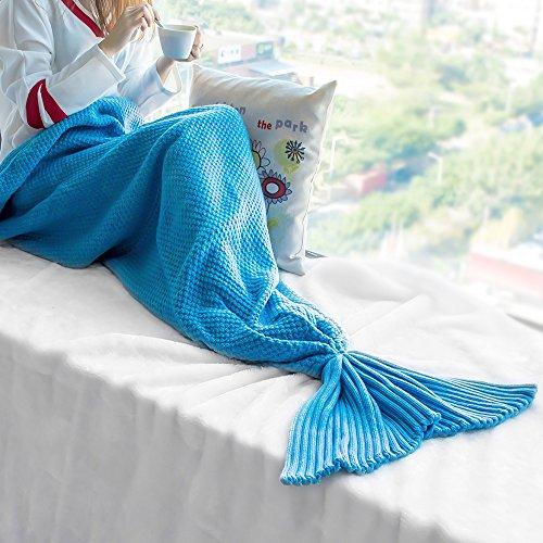 SoldCrazy handgefertigte Meerjungfrauendecke, fuuml;r Kinder und Erwachsene, Füße passen in die Flossen, Super weiche und gem Fuuml;tliche Baumwolle, baumwolle, blau, Adults Style