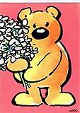 A4 XXL Maxi Grußkarte Genesungskarte Dankkarte Bär mit Blumenstrauß