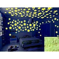 Baanuse Luminoso pegatinas de pared Estrellas Luminosas Pegatina Pared Fluorescente Brilla Oscuridad 200Pzas