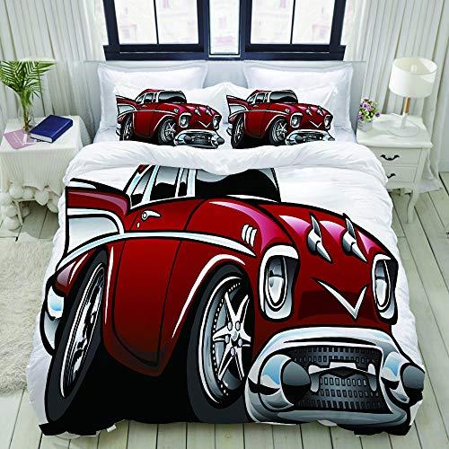 ALLMILL Bettwäsche-Set, Mikrofaser,Klassisches Vintage amerikanisches Muskelauto-fantastischer Alter Mode-berühmter Ikonen-Grafik-Druck,1 Bettbezug 200 x 200cm+ 2 Kopfkissenbezug 80x80cm - Grafik Alter Druck
