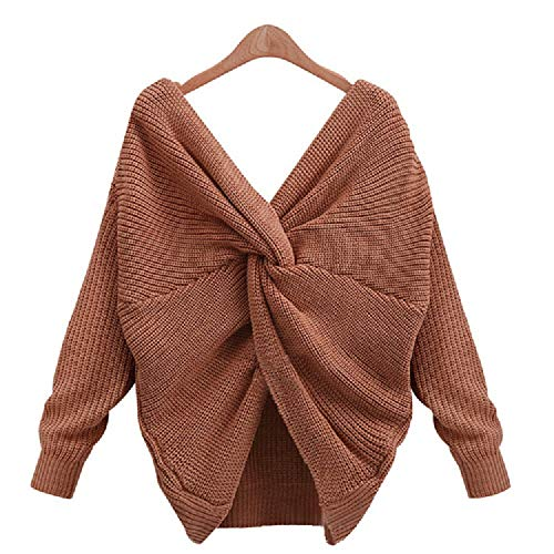 8 Colors V Neck Twisted Back Sweater Women Jumpers Pullovers Casual Tops Long Sleeve Knitt,Light Brown,L