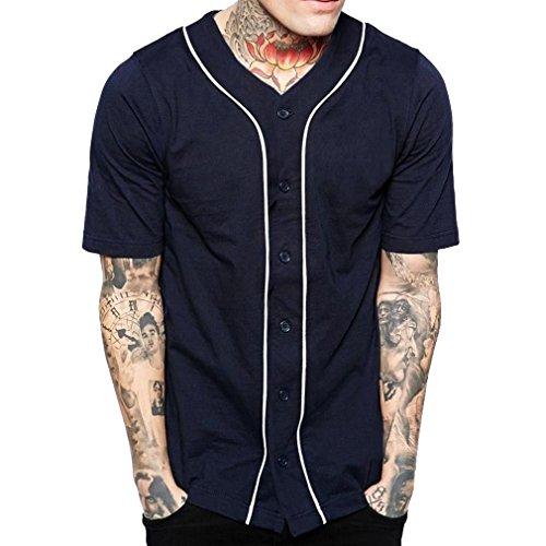 Vertikale Streifen-shirt (Junkai Herren T-Shirt Kurzarm Vertikale Streifen Rund Tank Top Weiche Atmungsaktive Freizeithemd M-3XL)