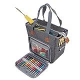 Luxja bolsa de tejer, bolsa para labores, almacenamiento de ovillos, Puntos Organizador para Tejer (Sin Accesorios),Gris