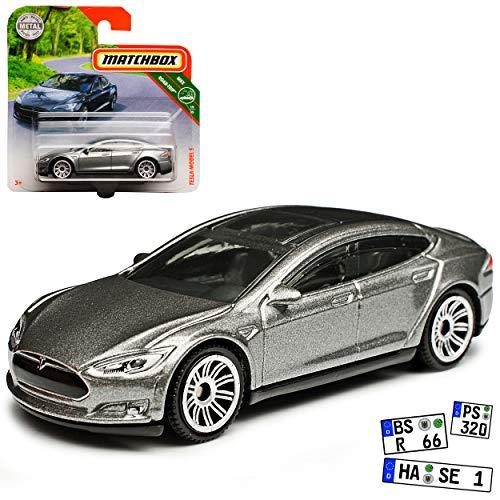 Tesla Model S Limousine Grau Ab 2012 1/64 Matchbox Modell Auto mit individiuellem Wunschkennzeichen