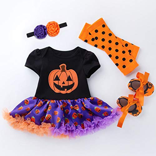 BabyPreg Halloween Cosplay Kostüme Baby Mädchen Schädel Brechen Kürbis Kleid 4 Stück (L / 9-12 Monate, Schwarz Lila)