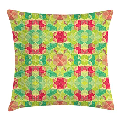 Digital Photo Cube (ZTLKFL Abstract Throw Pillow Cushion Cover, Fractal Mosaic Diagonal Digital Cubes Hexagon Forms Hipster Kaleidoscope Print, Decorative Square Accent Pillow Case, 18 X 18 inches, Multicolor)