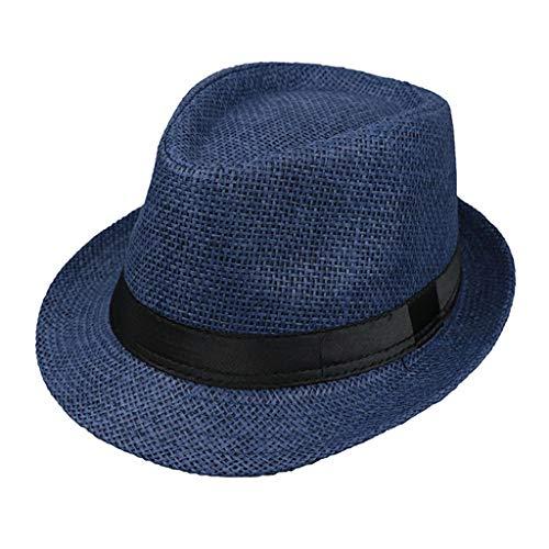 JOYKK Kinder Strohhut Sommer Strand Jazz Panama Trilby Fedora Hut Gangster Mütze Im Freien Atmungsaktive Hüte Mädchen Jungen Sonnenhut - H # Navy - Fedora-hut Tragen