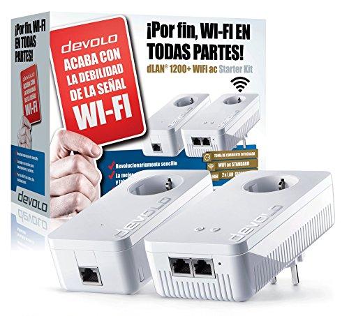 Devolo dLAN 1200+ WiFi ac - Kit de inicio de adaptador de comunicación por línea eléctrica PLC (1200 Mbps, 2 adaptadores, 2 puertos LAN, repetidor WiFi, amplificador de señal WiFi, WiFi Move), blanco