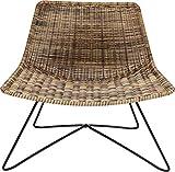 Kare Design Sessel Sansibar Lounge, naturfarbener Loungesessel in modernem Design mit Drahtgestellt in Schwarz, Breiter Sessel für den Outdoor Bereich (H/B/T) 71x77,5x59,5cm