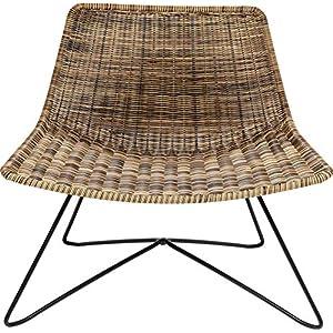 Kare Design Sessel Sansibar Lounge, naturfarbener Loungesessel in modernem Design mit Drahtgestellt in Schwarz, Breiter Sessel für den Outdoor Bereich (H/B/T) 71×77,5×59,5cm