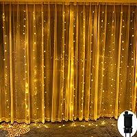 Guirlandes Lumineuses Rideau,Rideau Lumière 300LED 3M*3M,Guirlande d'Eclairage 8 Modes,Basse Tension,Guirlandes Lumineuses Decoration de Fenêtre,Noël,Mariage,Anniversaire,Maison,Patio,Etanche IP44.