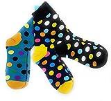 Bunte Socken mit Punkten (Größe 41-44): 3er-Set gepunktete Business-Socken aus Baumwolle - Strümpfe, farbig und farbenfroh - Herrensocken bunt - Sneaker Socken Herren