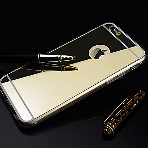Carcasa gel TPU IPhone 6 y 6S efecto espejo silicona transparente - COLOR DORADO