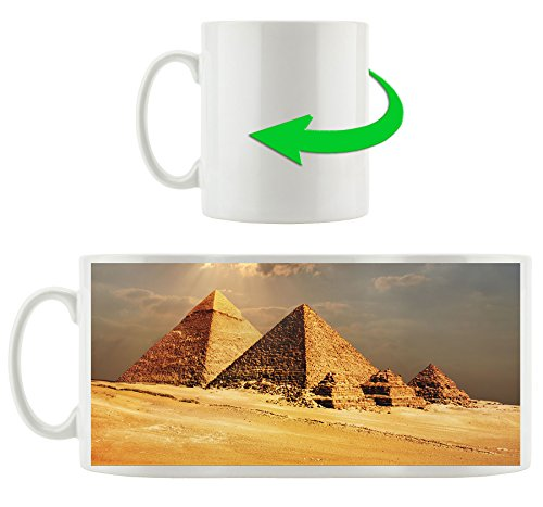 Pyramiden von Gizeh im Sonnenlicht, Motivtasse aus weißem Keramik 300ml, Tolle Geschenkidee zu jedem Anlass. Ihr neuer Lieblingsbecher für Kaffe, Tee und Heißgetränke. - Sonnenlicht Köln