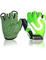 Guantes de ciclismo sin dedos, con acolchado que absorbe los golpes, antideslizante, ideal para el gimnasio o para usarlos al aire libre, color verde, tamaño XXL-Hand circumference[9.88-11.10]inchs
