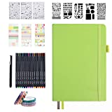 Bullet Doted Journal Kit,Feela A5 Diaz poited Bullet Grid Journal insieme con verde mela Notebook,Fineliner Pens,Reuitable Stencils,Sticker Sheets,Washi Tape,Black Pen for Diary,Schedule Plan,Disegno