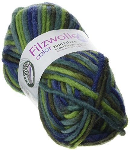 Grundl 2614–22 50 g Filzwolle Pelote de laine à feutrer Vert/bleu ma