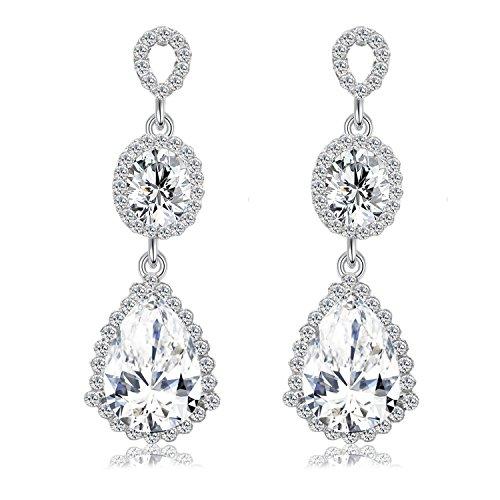 BiBeary Damen elegant Kristall Tropfen Form Fashion Anhänger Ohrringe klar Silber-Ton