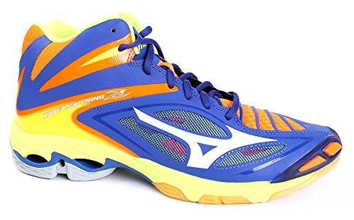 Mizuno Wave Lightning Z3 Mid, Chaussures de Volleyball Homme, Bleu/Blanc/Jaune 3 - SurftheWeb/White/OrangeCkwnFi