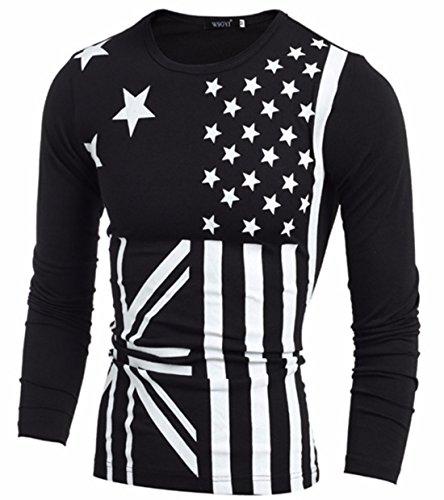 Men's Casual Slim Fit O Neck Long Sleeve America Flag Printed Sweatshirts Black