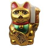 Superfreak® Winkekatze Glückskatze winkende Katze Maneki Neko, Farbe gold, Größe 30cm