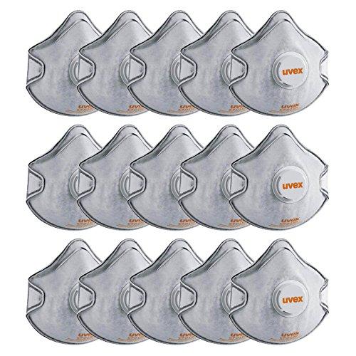 Preisvergleich Produktbild UVEX silv-Air classic 2220 Halbmaske FFP2VC Set - 15x Atem-Schutzmaske mit Ausatemventil, Arbeitsschutz-Formmaske