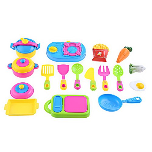 17pcs Simulated Kitchen Tableware Cookware Playset Pretend Role Play Cooker Cooking Utensils Kids Toy Play Game Gift