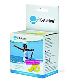 K-Active Kinesiology Tape Elite YELLOW with STRATAGEL®PLUS adhesive technology , water repellent and hypoallergenic, 50 mm x 5 m, 1 box set