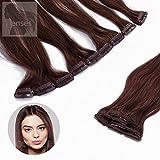 Clip In Extensions Echthaar Haarverlängerung bzw. Haarverdichtung Set - 5 Haarteile - in 45cm oder 60 cm Haarlänge - Haarfarbe: Nr. 33 Kastanie