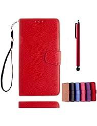 KSHOP Case Cover für Samsung Galaxy A5(2015)A500 Hülle Tasche Schutzhülle Schale Bookstyle Handyhülle Premium PU-Leder Rote Etui Handy Schutz Brieftasche Magnetverschluss - Metall Touch-Pen Rote