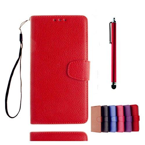 KSHOP Case Cover für Samsung Galaxy A3(2016) A310 Hülle Tasche Schutzhülle Schale Bookstyle Handyhülle Premium PU-Leder Rote Etui Handy Schutz Brieftasche Magnetverschluss - Metall Touch-Pen Rote