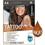 SKULLPAPER Tattoo-Transferfolie FÜR DIE HAUT - zum aufkleben und selbst gestalten - für Inkjet Tintenstrahldrucker (A4 - 4 Blatt)