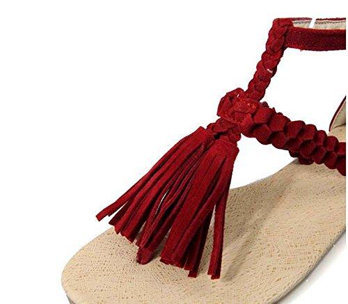 Beauqueen Sandales Pompes Femmes Eté Tassel Femmes Rouge Noir Marron Beige Chaussures Casual Spécial Taille Europe 33-43 Brown