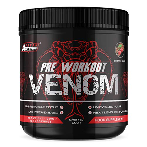 Pre Workout Venom 'Cherry Cola' - Pump Pre Workout Supplement by Freak Athletics - Elite Level Pre Workout Supplement - Pre Workout Powder Made in The UK - Available in Cherry Cola