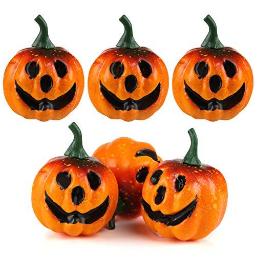 Kesoto mini zucca artificiale verosimigliante zucca di schiuma ornamenti per fasta di halloween, 6 zucche, 5.5cm