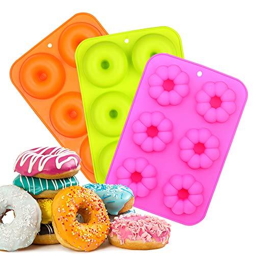 EKKONG Silikon Donut Formen, Runde und Blumen-Donut-Formen Backform, 3 Stück, antihaftbeschichtet, 260 Grad Wärmebeständigkei, ideal für Kekse, Bagels, Muffins (6 Hohlräume)-Orange,Rose Red,Grün