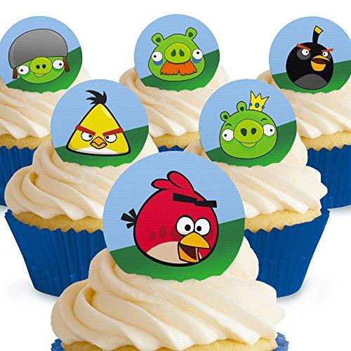 12 x Vorgeschnittene und Essbare Angry Birds Kuchen Topper (Tortenaufleger, Bedruckte Oblaten, Oblatenaufleger)