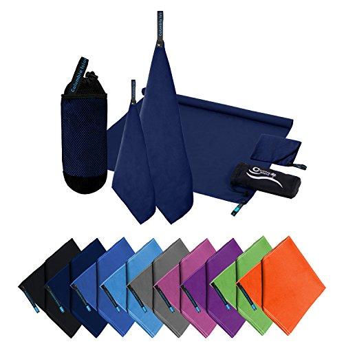 Microfaser Handtücher | 70x140cm + 30x50cm | Mikrofaser Handtuch schnelltrocknend Badehandtuch Reisehandtuch für Camping & Outdoor | Badetuch | Sport-Handtuch 2er Set Dunkelblau inkl Tragetasche