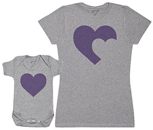 Zarlivia Clothing Heart Baby and Mother - Ensemble Mère Bébé Cadeau - Femme T Shirt & bébé Bodys - Gris - L & 3-6 Mois
