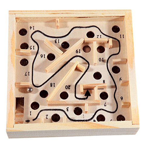 (B Blesiya Holz Labyrinth Puzzle, Balance Board Perle Labyrinth Brettspiel, Kinder Pädagogisches Spielzeug)