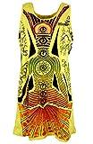 Guru-Shop Mirror Tank Top, Longshirt, Minikleid, Damen, Chakra Meditation/Gelb, Baumwolle, Size:S (36), Bedrucktes Shirt Alternative Bekleidung