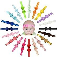 Enuo 20 Piezas Bebé niñas Bowknot Bebé Venda De Pelo De Arco Para Niñas Banda Para La Cabeza Color Sólido Diadema Elástica Turbante