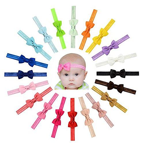 Enuo 20 Piezas Bebé niñas Bowknot Bebé Venda De Pelo De Arco...