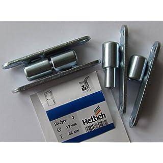 Hettich Renovierbänder zum Aufschrauben, 68 x ø 13 mm, max. 30 kg, Stahl verzinkt, 2 Stück, 89198
