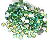 Jollin Cristaux Plat Retour Strass Verre Strass Gem Diamant Nail Art, Light-green AB, SS12 1440pcs