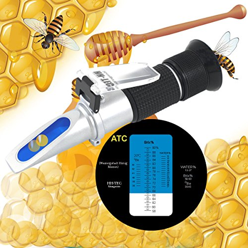 HH-TEC Imker Refraktometer Honig 58-90% Brix 38-43 Baume 12-27% Wasser Feucht Handrefraktometer für Imker Honig Pflanzenölen Zuckersirup Fruchtmarmelade Melasse mit Bedienungsanleitung in Deutsch