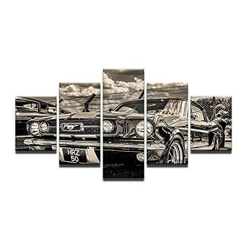 Fbhfbh 5 Panels HD Pritned Retro Autos Schwarz und Weiß Altes Auto Leinwand Malerei Wandbild Bild für Wohnzimmer-16x24/32/40inch,With frame (Schwarz Und Halloween-gesicht-malerei Weiß)