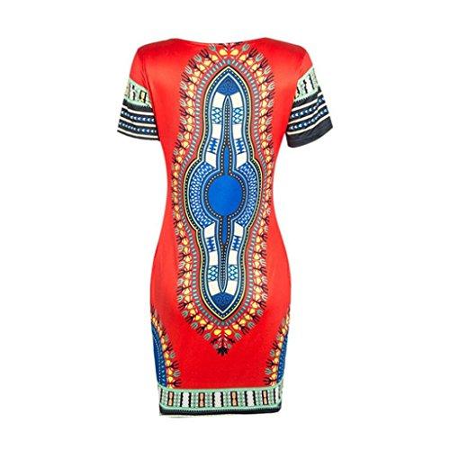 Robe d'été pour femme,Tonwalk Traditionnelle africaine Dashiki Bodycon Robe Rouge