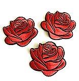 Bügelbild Set 3 dunkelrote Rosen Aufbügler Aufbügelflicken Applikationen