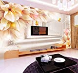 Fotomurale 3D Fantasy Fiore Espansione dello spazio Murale Soggiorno TV Divano Salotto Decorazioni accoglienti Carte da parati non tessute Stampa artistica Multicolor_400cm (L) x 280cm (H)